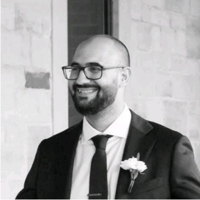 Black and white photo of Mina Daoud